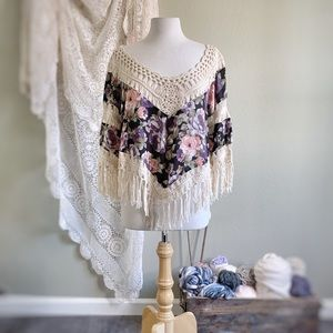 DREAMERS | Boho Floral + Crochet Fringe Top